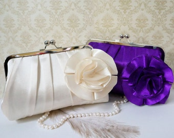 Pleated Bridal and Bridesmaid Clutch with Flower Brooch- Deep Purple and Ivory