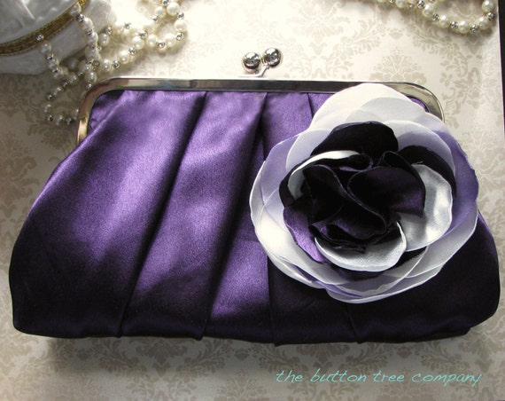 Purple Bridal and Bridesmaid Clutch Purse with Ivory, Lavender, and Purple Flower- Custom- Pleated