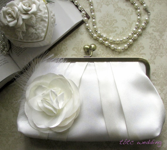 Pleated Ivory Bridal Clutch with Ivory Flower Brooch or Adornment with Feathers- Custom