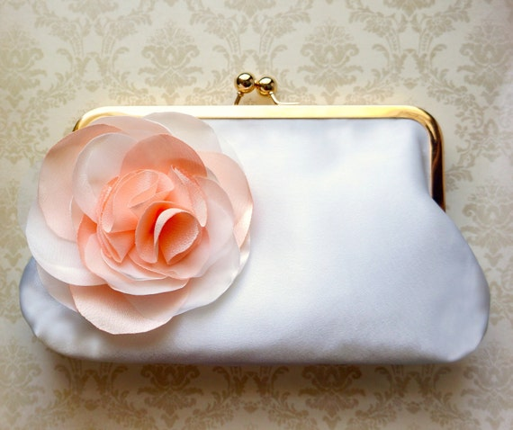 Bridal Clutch with Peach Flower Adornment- Custom