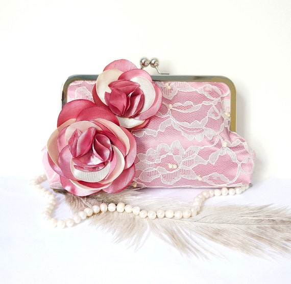 Romantic Lace Clutch Purse- Old Rose