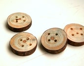 Chunky wooden buttons - set of 4 - medium - with 4 holes - for craft and fiber projects, hats, bags, scarfs - from the Netherlands