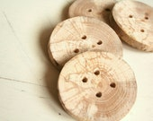 Beech wooden buttons - large - set of 4 - with 4 holes - craft, fiber projects, journals, hats, bags, scarfs - by Ligamentum