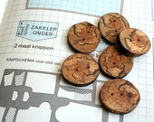 Oak wooden buttons - dark buttons - set of 6 - with 2 holes - for craft art fiber projects, hats, bags, scarfs - from the Netherlands