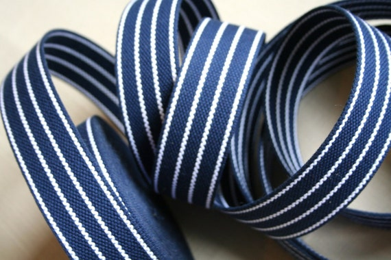 RESERVED Dark blue cotton webbing with white stripes 4cm (1 1/2inch) wide - by Ligamentum