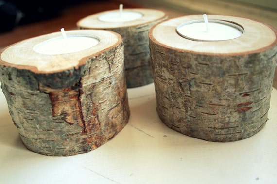 RESERVED Wooden candle holders - cosy rustic home decor - set of 3 - birch wood - from the Netherlands - by Ligamentum