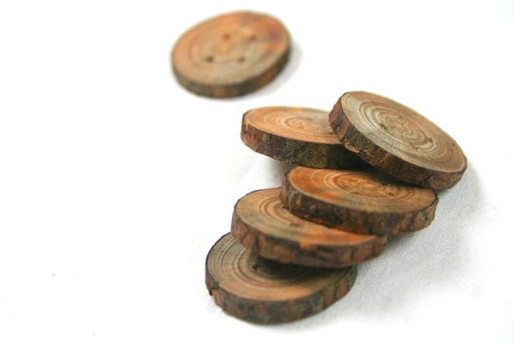 Chunky wooden buttons - set of 6 - medium - with 4 holes - for craft and fiber projects, hats, bags, scarfs - from the Netherlands