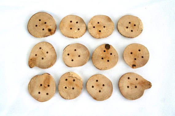 "12 large wood buttons, 4 holes, medium size, 4cm 1 1/2"" wide"