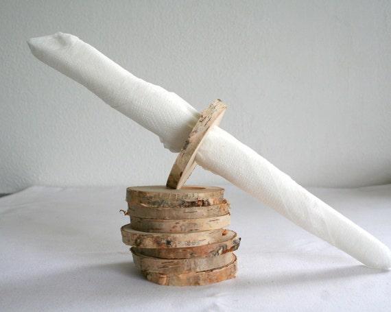 rustikale serviettenringe aus licht birkenholz set 8. Black Bedroom Furniture Sets. Home Design Ideas