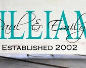 """First and Last Names Plus Est Date Sign 7.5x19"""" In your Choice Of Colors, Makes a great Wedding Gift"""