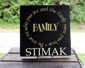 "11x11 Wooden ""Tile"" Sign With ""Be True Family Message"" And Family Last Name"