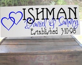 """Adorable Double Heart Design Personalized With First and Last Name Sign With Est Date Sign 7.5x19"""" Makes A Perfect Wedding Gift"""