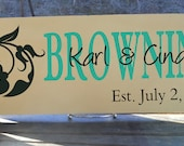 "Decorative Embellishment With First and Last Names of Couple Includes Established Date 7 1/4x 19"" Sign Great Wedding Gift"