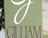 Decorative Initial Sign With Last Name and Established Date, Includes Beautiful Damask Detail In YOUR Choice of Colors