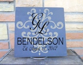"Damask Underlay Detailed 11x11 Wooden ""Tile"" With Couple's Monogram, Last Name and Established Date GREAT WEDDING GIFT"