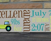 """7 1/4 x 19"""" Boys Birth Announcement Room Sign, Totally Customized To Your Theme Makes A Perfect Baby Gift"""