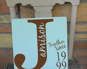 Together Since Monogram Sign with Family Last Name Inlay 11x11 Wooden Sign in Your Choice Of Colors