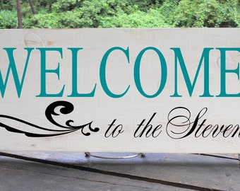"""7 1/2 x 19"""" Handpainted Wooden Family Name Sign With Beautiful Flourish Detail and WELCOME message"""