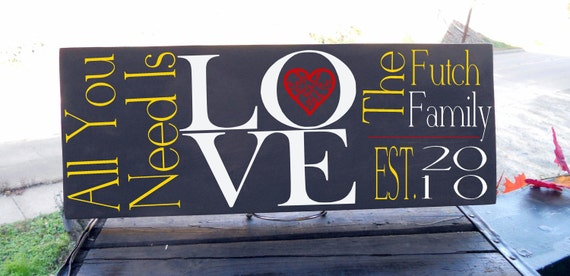 """All You Need Is LOVE with Decorative Heart Detail and Personalized Last Name and Est. Date 7.5 x 19"""" Sign , In Your Choice of Colors"""