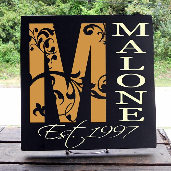 """11x11 Wooden """"Tile"""" Sign with Decorative Flourish Initial, Last Name With Est. Date A MUST SEE"""