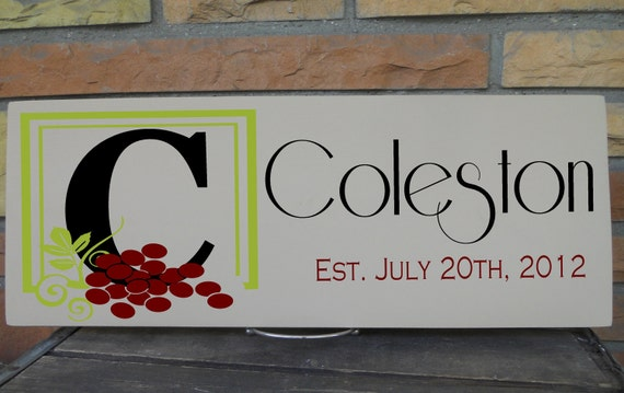 Framed Monogram With Grape Detail Sign Personalized With Last Name and Established Date, Perfect for Wine Theme Wedding