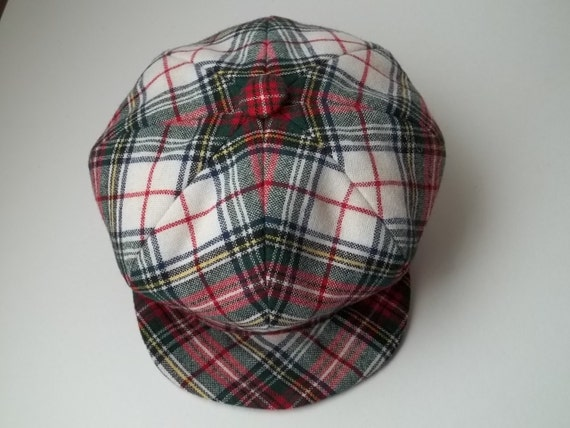"21"" Newsboy Hat in Red, White and Green, Scotch Plaid"