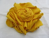 Sunshine yellow upcycled hair clip / brooch
