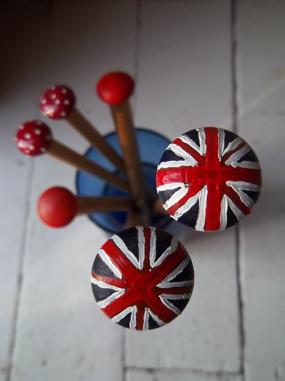 Diamond Jubilee Union Jack Hand painted knitting needles - 20mm