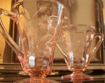 1930s Janette Pink Floral Depression Glass Creamer and Sugar Bowl