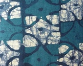 0064 - Hand Dyed Batik Fabric  -  Teal Blue, Blue, & White
