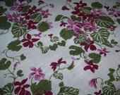 Vintage Large Linen Tablecloth Purple Violet Flowers