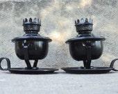Black Candle Holder Set Oil Burner Pivot