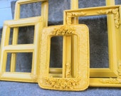 Sunny Yellow Picture Frame Set Ornate