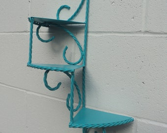 Metal Sprial Staircase Shelf Blue Green Turquoise Home Decor