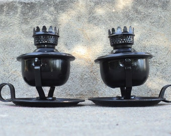 Black Candle Holder Set Oil Burner Pivot