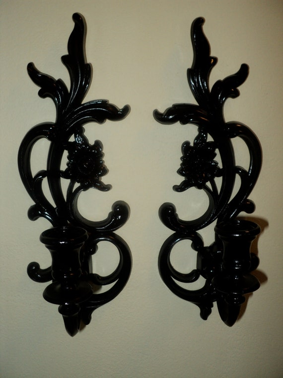 Vintage Syroco Candle Holder Wall Sconces Black