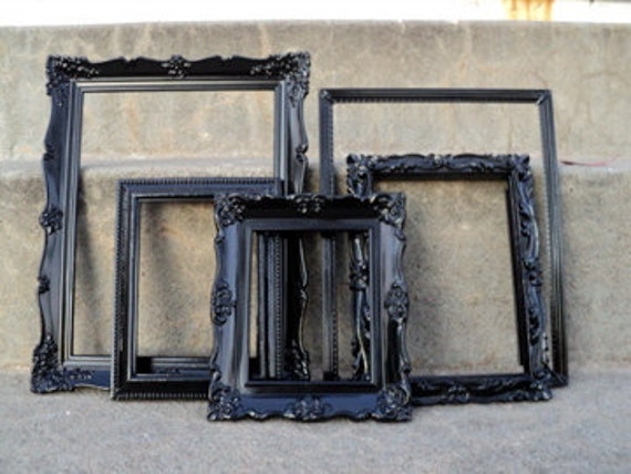 Black Vintage Picture Frame Set Ornate
