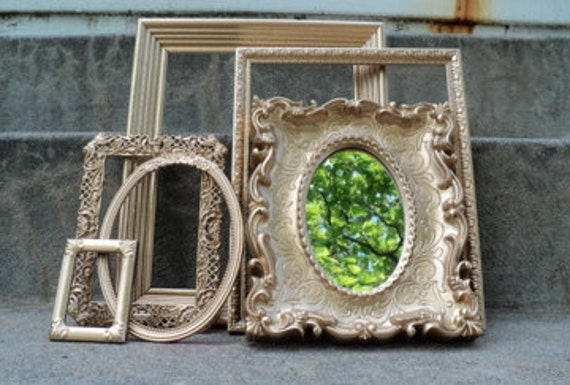 Gold Frame and Mirror Set Ornate