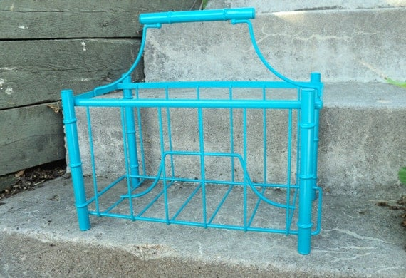 Reserved for Miriam Vintage Metal Blue Bamboo Magazine Rack