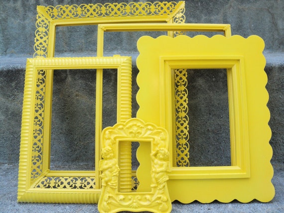 Sunny Yellow Ornate Picture Frame Set