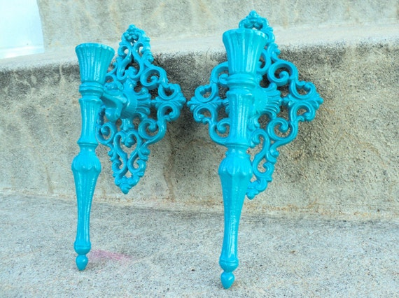 Ornate Blue Metal Wall Sconce Set Vintage