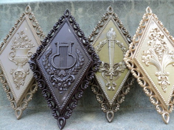 Rich Shades of Brown Shabby Wall Plaque Set Ornate