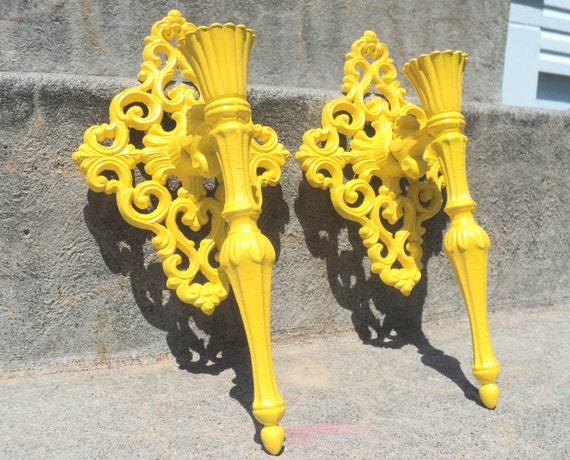 Sunny Yellow Ornate Metal Sconce Set Vintage