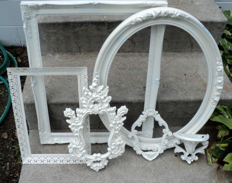 large vintage picture frame set ornate antique white. Black Bedroom Furniture Sets. Home Design Ideas