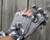 Fingerless Gloves - Gray, Black & White
