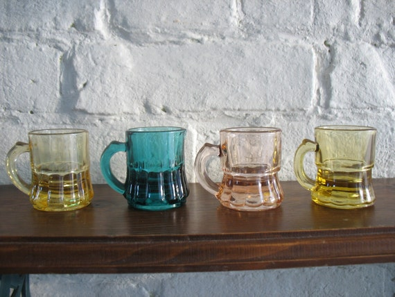 Vintage Depression Shot Glasses - Bar Ware - Colored Glass Ware - Federal Glass