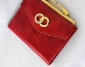 Lady Bosca Vintage Red Patent Leather Wallet coin purse gold circles awesome shape