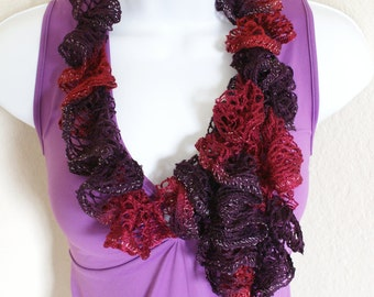 Ruffle scarf handmade  crochet lace and soft multicolored maroon crimson  scarf for spring and summer