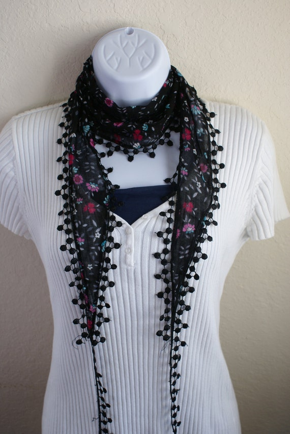 Traditional multipurpose handmade seasonal black pink flower lace scarf