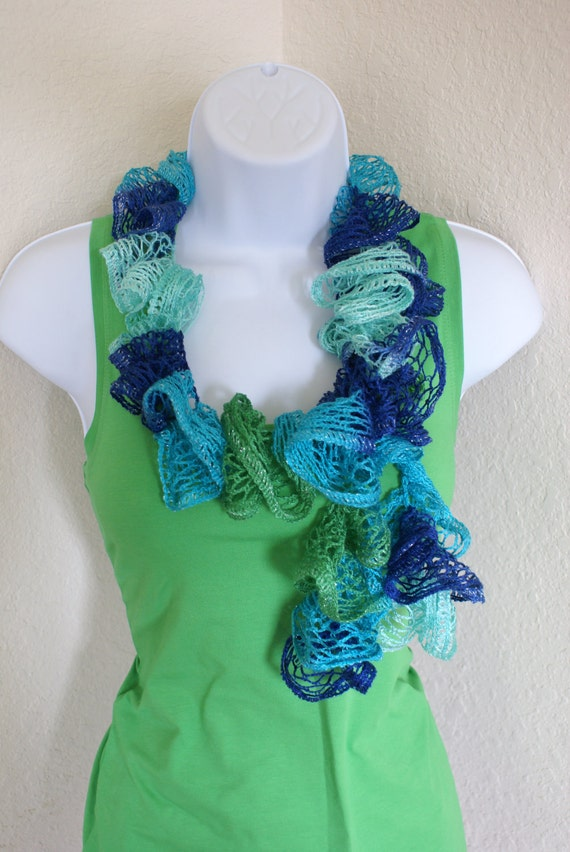 Ruffle scarf handmade  crochet lace and soft blue green scarf or belt for spring and summer